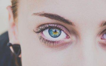 глаза, девушка, взгляд, лицо, ресницы, крупным планом