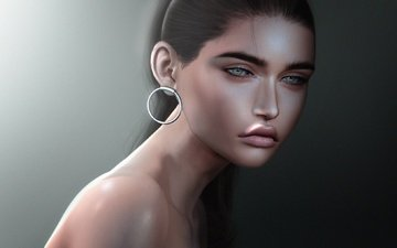 глаза, девушка, фон, взгляд, волосы, губы, лицо, сёрьги, голое плечо