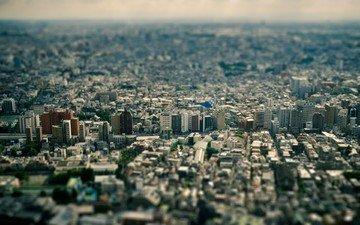 горизонт, панорама, город, япония, мегаполис, tilt shift, небоскрёб, токио