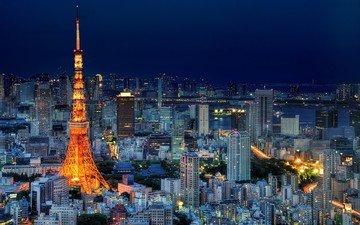 ночь, огни, город, япония, небоскребы, башня, мегаполис, дома, здания, освещение, токио, столица, токийская башня