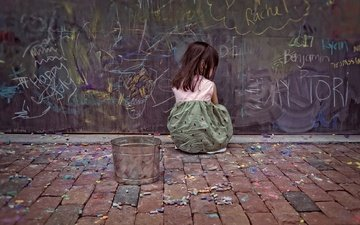 colorful, the city, children, girl, street, child, colored, drawing, crayons, mel