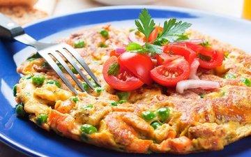 зелень, овощи, яйца, горошек, помидоры, ветчина, омлет