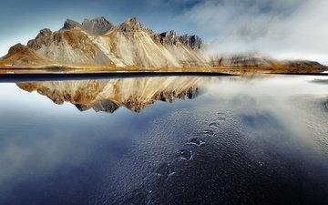 горы, берег, отражение, море, франци, кольмар, etienne ruff