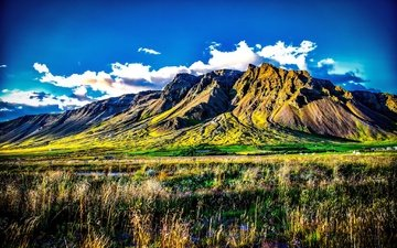 the sky, grass, clouds, mountains, iceland, kerhólakambur