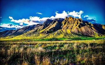 небо, трава, облака, горы, исландия, kerhólakambur
