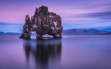 mountains, sea, rock, horizon, arch