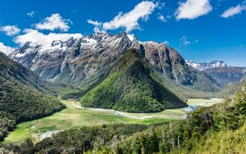 the sky, clouds, mountains, new zealand, routeburn track