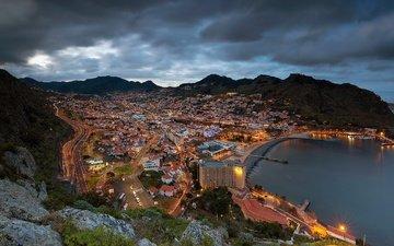 горы, панорама, побережье, залив, ночной город, португалия, мадейра, атлантический океан, atlantic ocean, machico bay, машику, machico