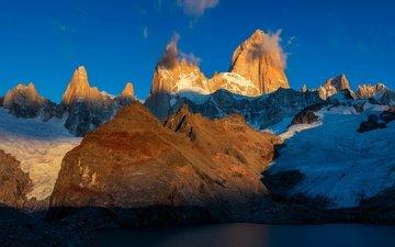 небо, горы, снег, пик, вершина, аргентина, санта-крус