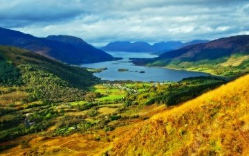 the sky, clouds, lake, mountains, scotland, glencoe, highlands