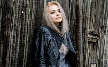 девушка, блондинка, взгляд, модель, волосы, лицо, кожаная куртка, оля, гозун радослав