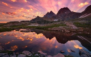 the sky, lake, mountains, stones, sunset, reflection, rays, pond