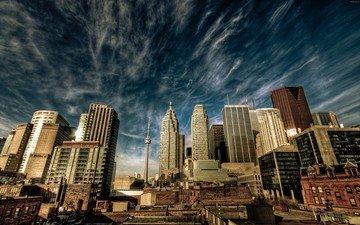 the sky, clouds, the city, skyscrapers, canada, toronto