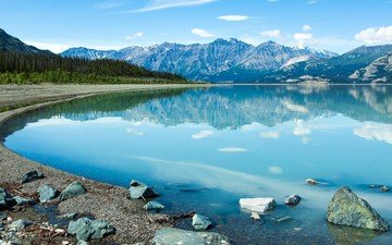 the sky, clouds, water, lake, mountains, stones, reflection, canada, national park, yukon, clean