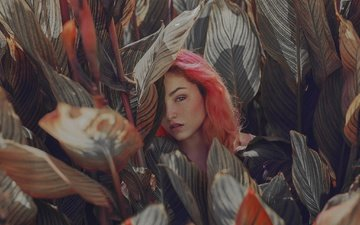 листья, девушка, взгляд, волосы, лицо, красные волосы