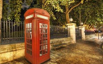 деревья, лондон, город, улица, англия, телефон, телефонная будка