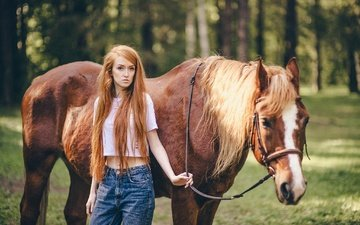 horse, girl, summer, look, red, jeans, hair, face, walk, mane