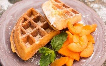 мята, фрукты, дольки, выпечка, десерт, абрикосы, вафли