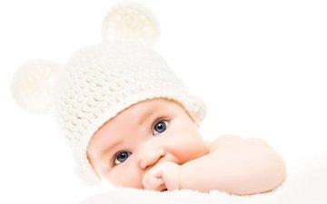 дети, ушки, белый фон, ребенок, младенец, шапочка, голубоглазый