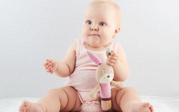 фон, дети, игрушка, ребенок, младенец, зайчик, голубоглазый