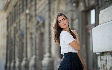 girl, look, skirt, model, hair, face, amalia