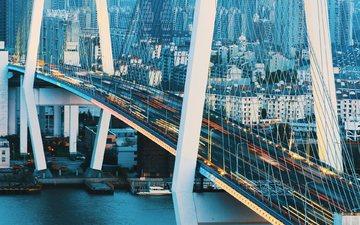 река, мост, город, шанхай, китай, здания