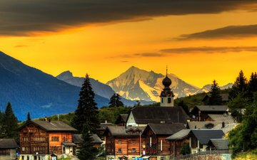 the sky, trees, mountains, sunset, switzerland, home, town
