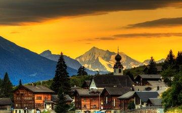 небо, деревья, горы, закат, швейцария, дома, городок
