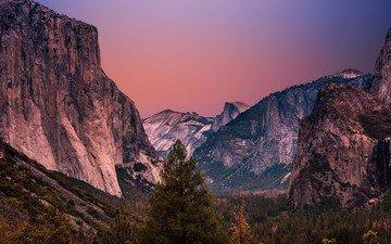 небо, деревья, вечер, горы, закат