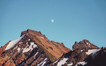 the sky, mountains, snow, the moon