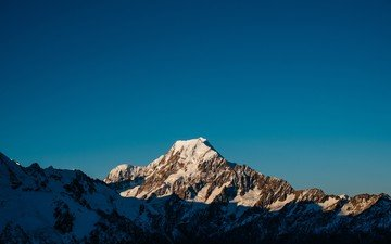 the sky, mountains, snow, morning, dawn, new zealand, mount cook