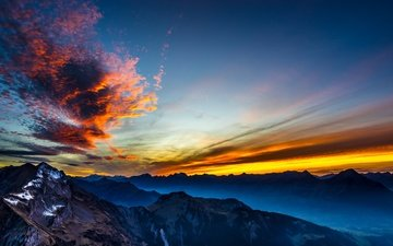 the sky, mountains, sunset, tops