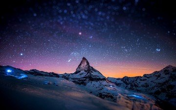 the sky, clouds, mountains, sunrise, sunset, stars, snow peak