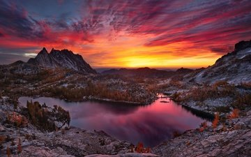 the sky, clouds, lake, mountains, sunset, autumn