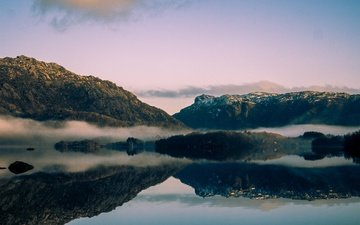 the sky, clouds, lake, mountains, the sun, fog, norway