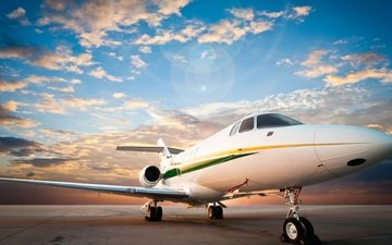 небо, облака, рассвет, аэродром, пассажирский самолет, взлетно-посадочная полоса