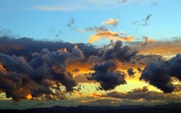 небо, облака, вечер, закат