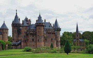 небо, замок, нидерланды, газон, старинный, замок де-хаар