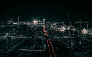 ночь, вечер, мост, франция, стадион, транспорт, городской пейзаж