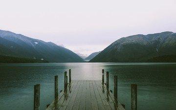 озеро, горы, пирс, фьорд