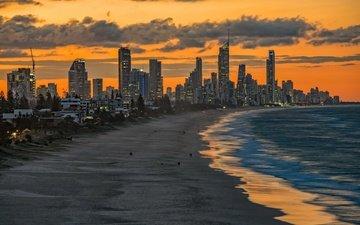 закат, пляж, город, небоскребы, океан, сша, флорида, майами, майами-бич