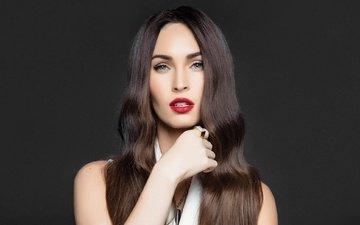 девушка, портрет, брюнетка, взгляд, меган фокс, губы, актриса, длинные волосы, знаменитость