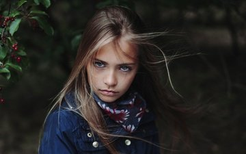 portrait, look, children, girl, hair, face, berries, child, oliwia