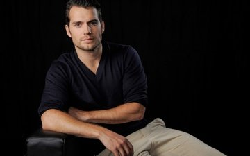 pose, look, actor, sitting, black background, face, henry cavill