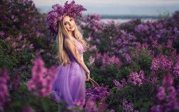 природа, девушка, платье, блондинка, улыбка, ветки, кусты, весна, корзина, локоны, венок, сирень, sergey shatskov