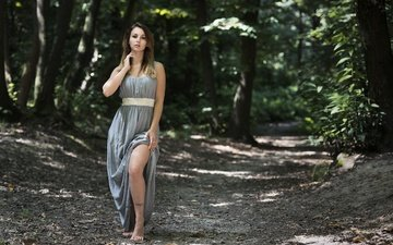 природа, девушка, платье, взгляд, модель, волосы, лицо, saula