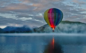 the sky, clouds, mountains, nature, fog, balloon