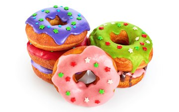 colorful, white background, sweet, donuts, cakes, dessert, glaze