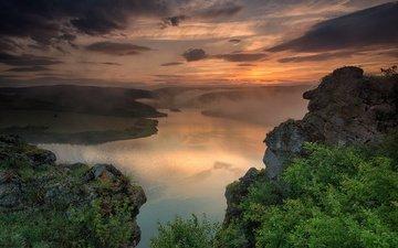 река, скалы, холмы, природа, пейзаж, утро, туман, весела маринова
