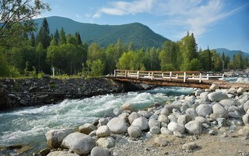 the sky, clouds, trees, river, mountains, nature, stones, forest, bridge, russia, the altai mountains, multinskoe lake